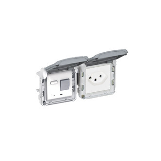 Steckdose T13 IP55, grau, mit FI-Schalter 30mA - Legrand (Schweiz) AG